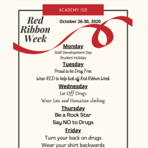 Red Ribbon Week is October 26-30, 2020