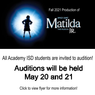 Auditions for Matilda, Jr. May 20 & 21