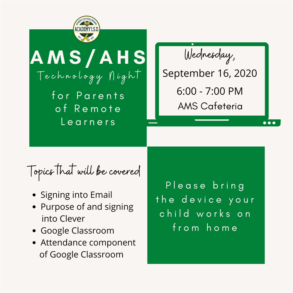 AMS/AHS Technology Night for Parents of Remote Learners
