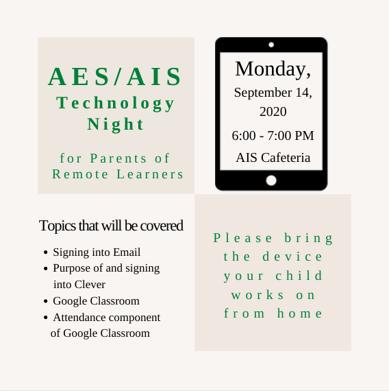 AES/AIS Technology Night for Parents of Remote Learners