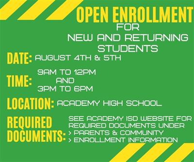 in person enrollment for new and returning students, August 4th & 5th at Academy High School 9AM to 12PM and 3-6PM